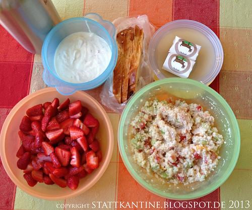 Stattkantine 15. Mai 2013 - Couscous-Salat, Ziegenfrischkäse, Erdbeeren