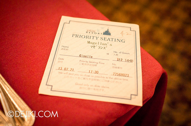 Tokyo DisneySea - Mediterranean Harbor / Magellan's / Priority Seating Ticket