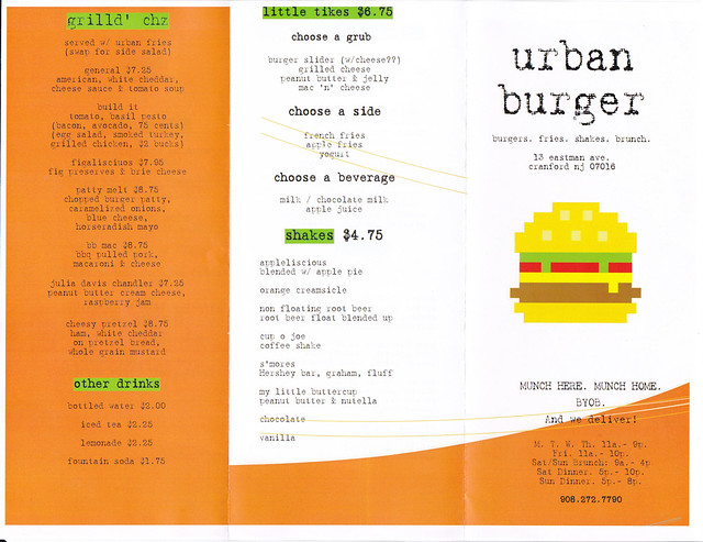Urban Burger Menu 1