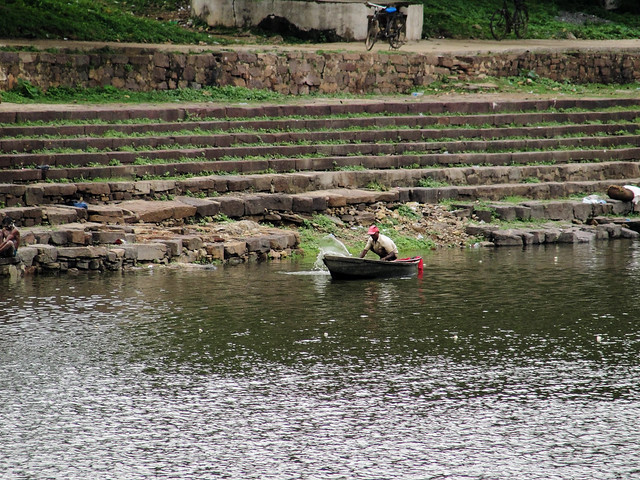 A fisherman in Khokho talab - the fish in the lakes has drastically reduced thereby affecting the livelihood of the fishermen.