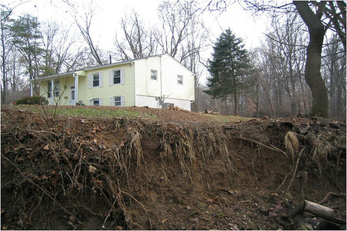 A property suffering damage due to erosion.