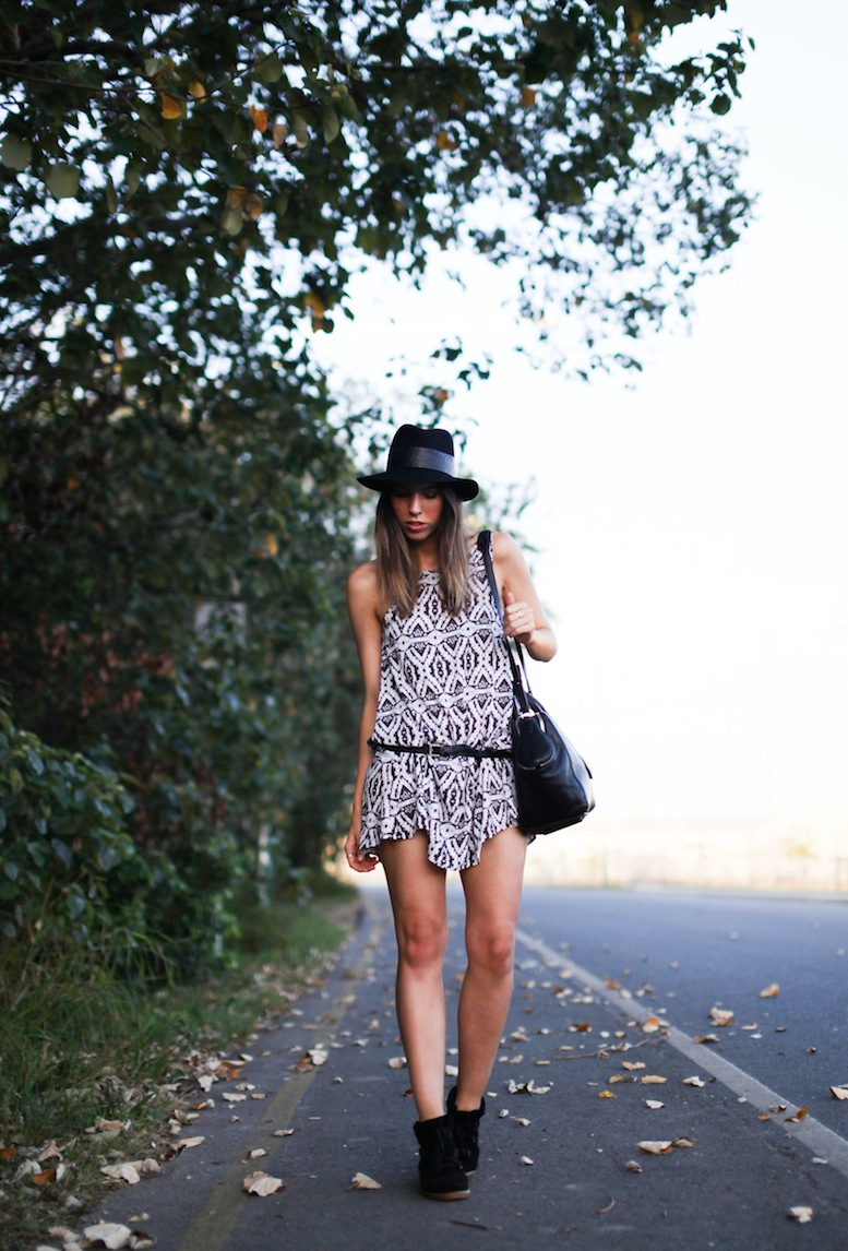 modern legacy fashion style blog Australia tribal print dress felt fedora Isabel Marant sneakers Alexander Wang tote bag Asos belt (2 of 6)