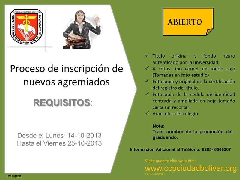 Proceso de inscripción de nuevos agremiados del Colegios de Contadores Públicos - Ciudad Bolívar