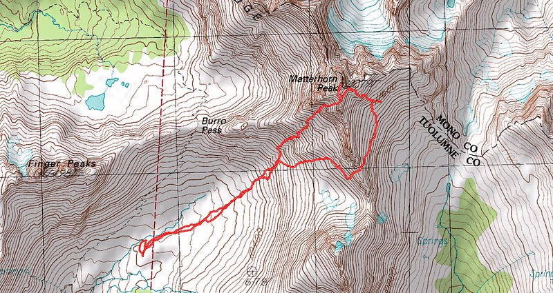Topographic Map of our fifth day's hike - Climbing Matterhorn Peak, Yosemite