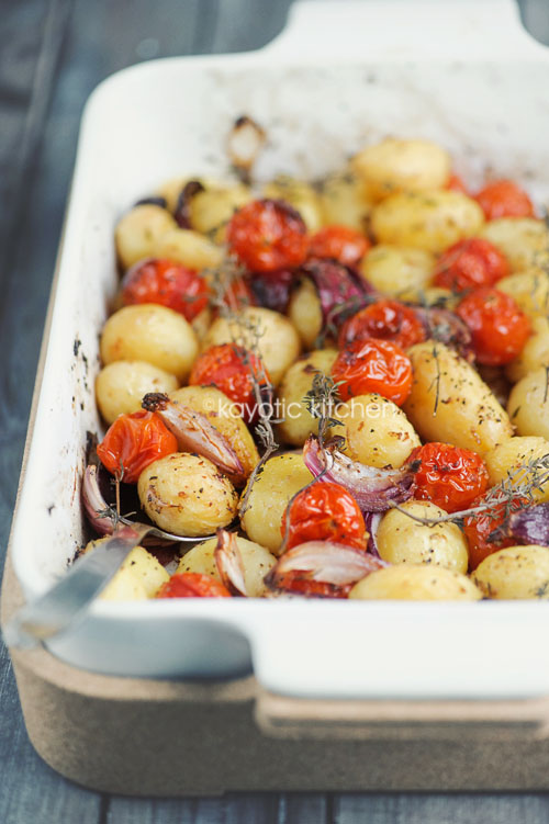 Balsamic Roasted Potatoes & Tomatoes