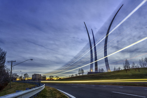 sunset monument arlington speed dc washington traffic bend dusk spires curves va lighttrails usairforce airforcememorial