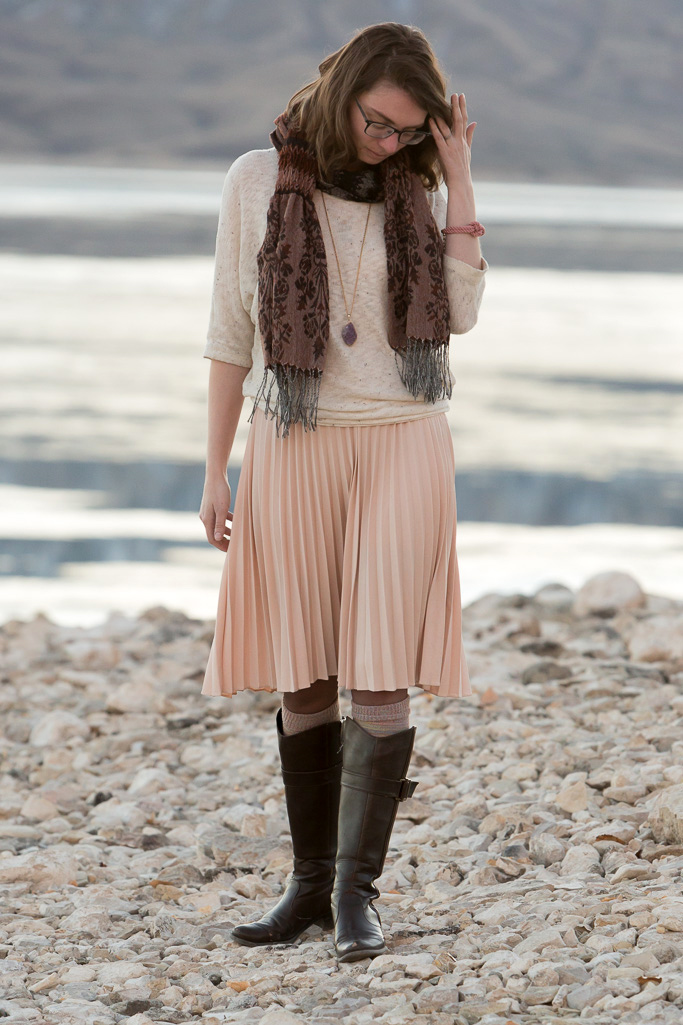 Pink, Pleat, Dress, Rose, soundofsilence, never fully dressed, withoutastyle, pink scarf, stitchfix sweater, wyoming, cody,