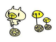 レモン一輪車に乗る