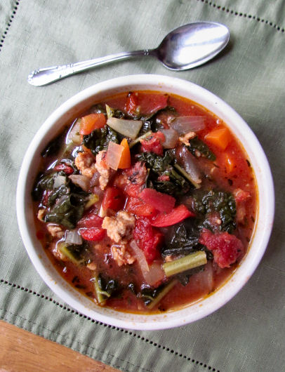 Italian Sausage and Tomato and Kale Soup