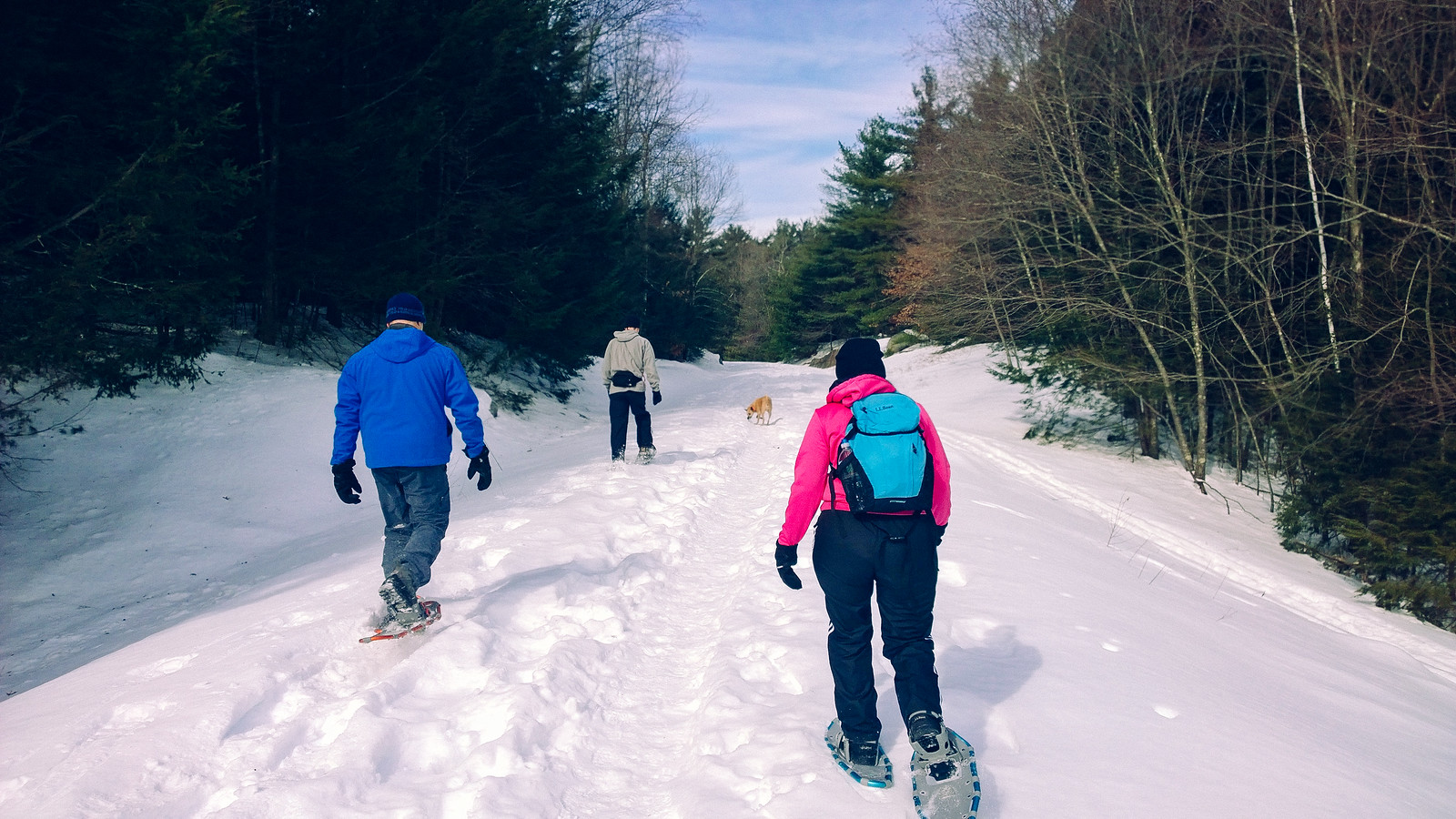 Snowshoeing at West Hill Dam