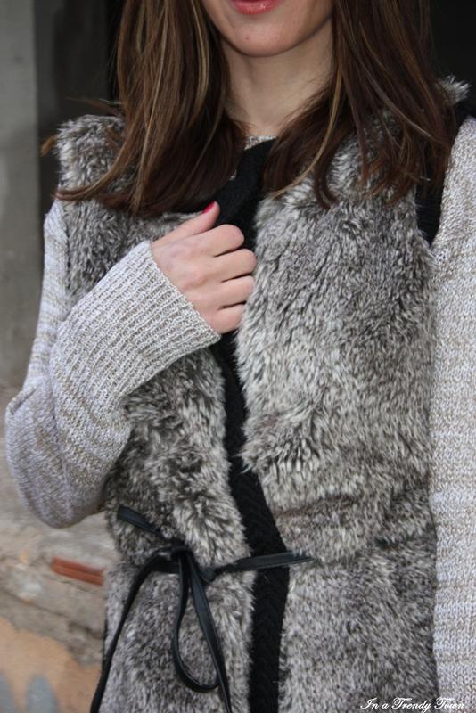 Outfit chaleco de pelo 4