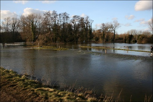 Flooded road at Cookham Moor
