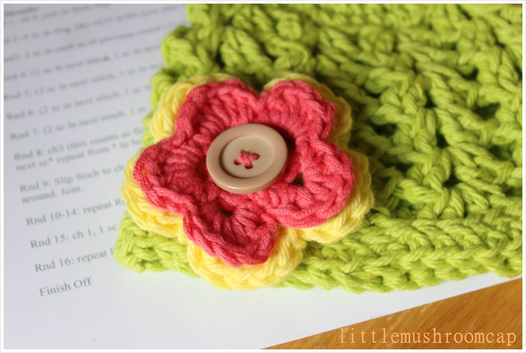 Lime Green crochet beanie _ doublke layer flower crochet