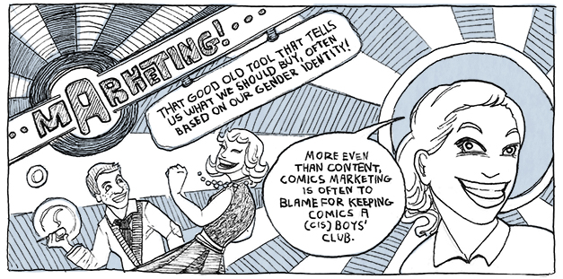 preview of a comic about marketing in the comics industry
