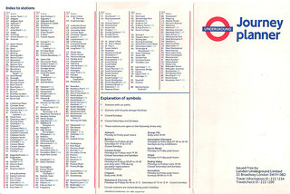 October 1988 Tube Map Index to Stations