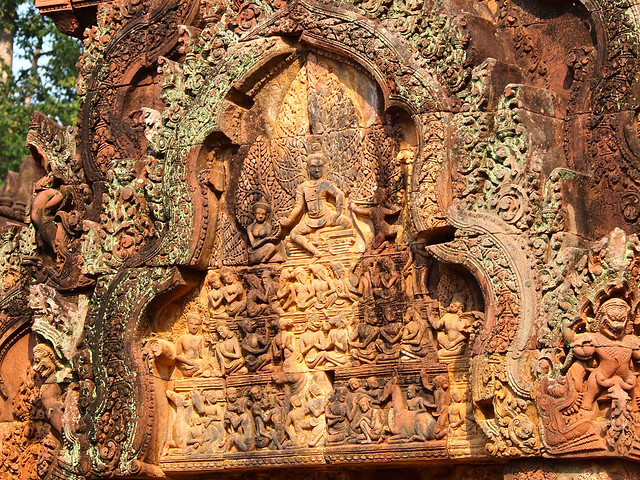 Details at Banteay Srei temple in Angkor, Cambodia