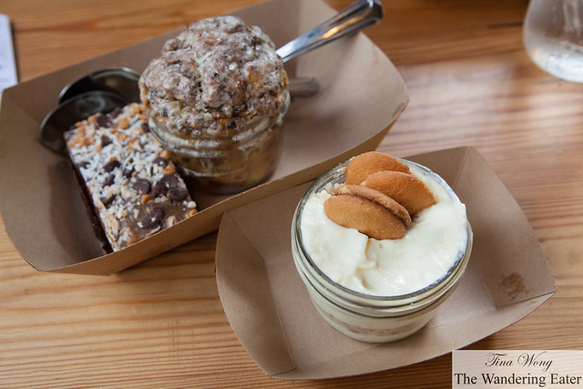 Desserts: Cowboy Brownie, Sweet potato bread pudding, Banana pudding