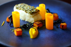Halibut with peanut and squash