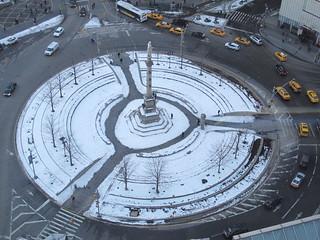 Snow Columbus Circle NYC