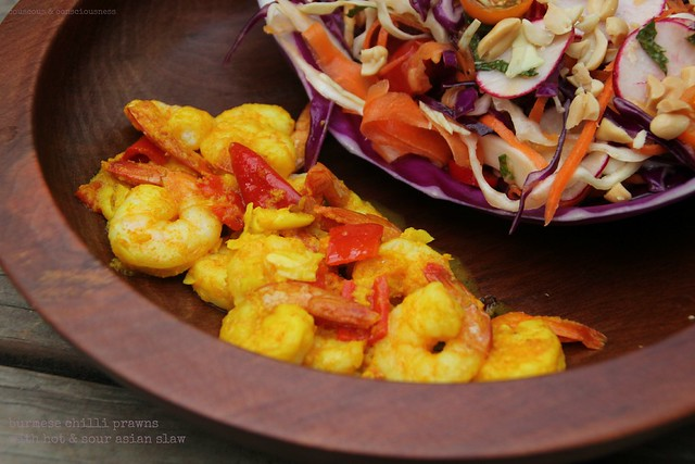 Burmese Chilli Prawns with Hot & Sour Asian Slaw 2
