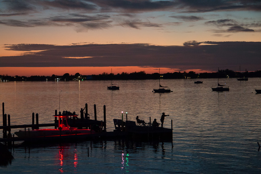 Sunset view from Bayside Grille in Key Largo