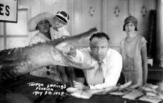 Miller family with stuffed alligator - Tarpon Springs