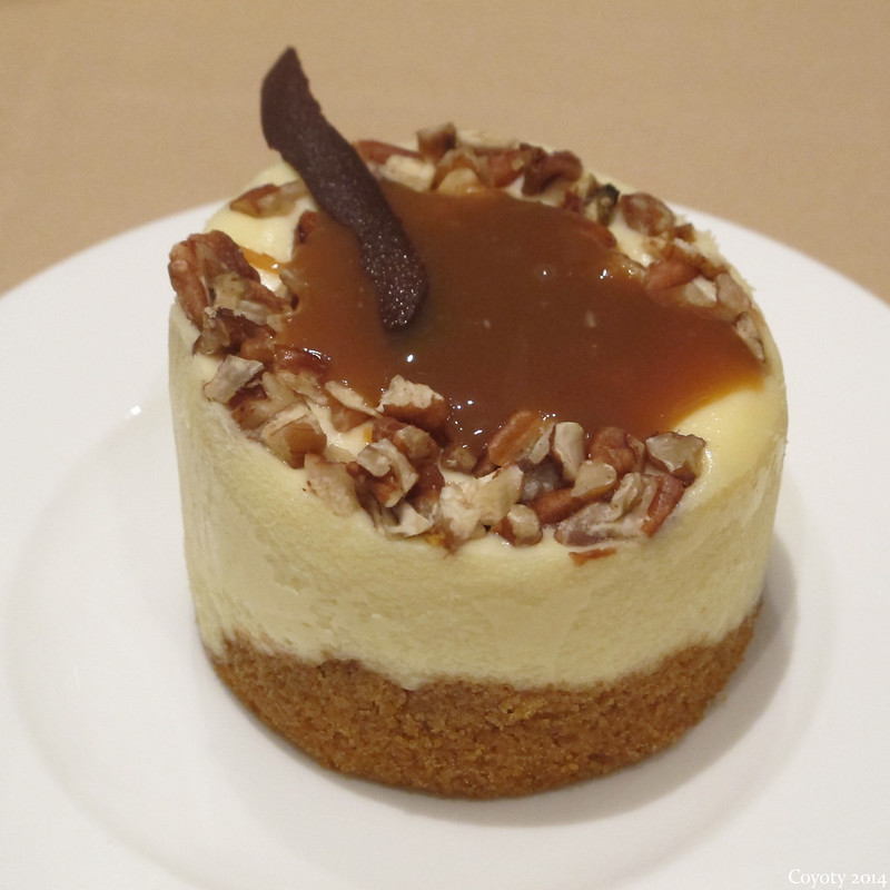 Caramel cheesecake with chocolate and nuts