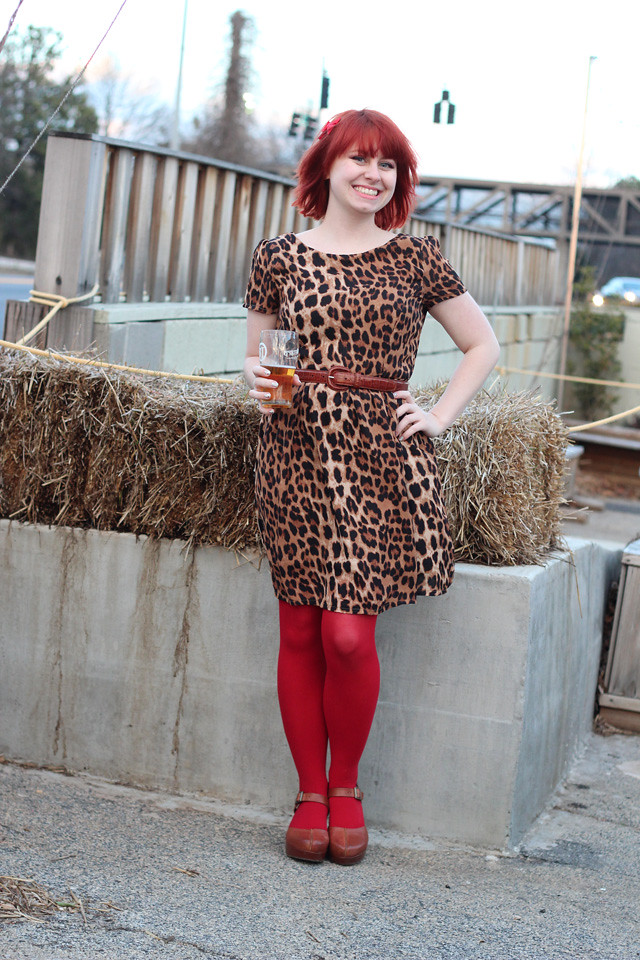 Valentine's Day Outfit: Leopard Dress, Red Tights, and Clogs