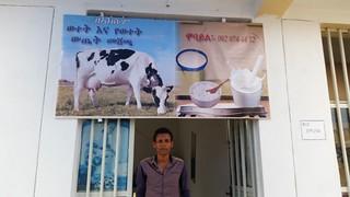 Milk shop owner in Axum