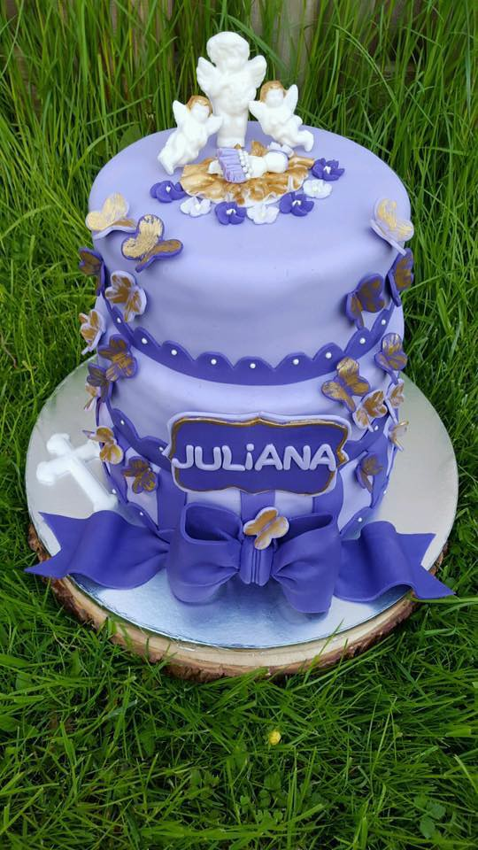 Angels and Butterflies - Baby Girl Christening Cake by Jules Cakery