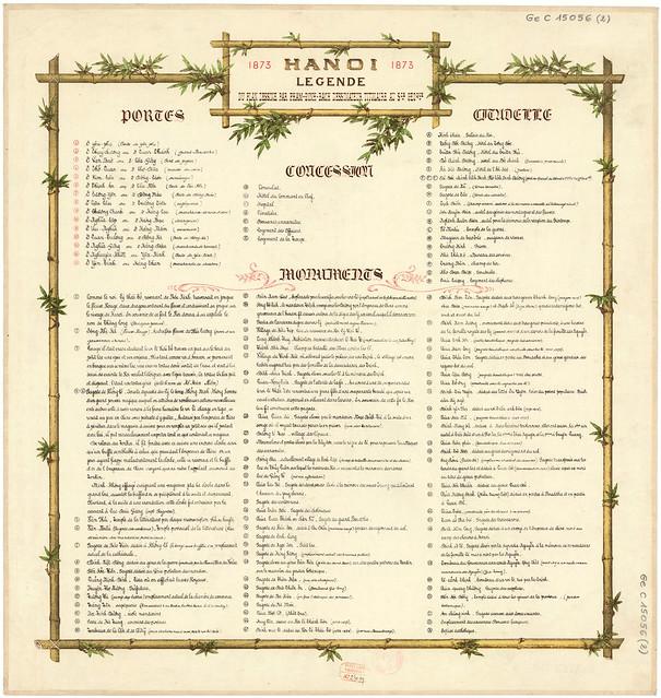 HANOI 1873- LEGENDE (BẢN CHÚ THÍCH CHO BẢN ĐỒ HANOI 1873)
