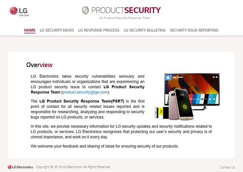 เว็บไซต์ LG Product Security