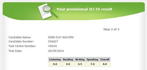 Provisional IELTS result.