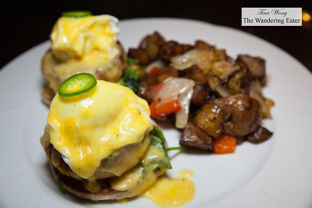 Maryland lump crab cake benedict with hash potatoes