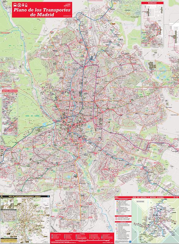 Mapa do Transporte Publico em Madrid