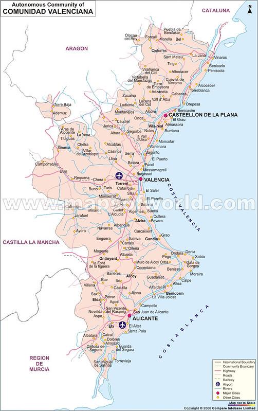 Mapa de Comunidade Valenciana