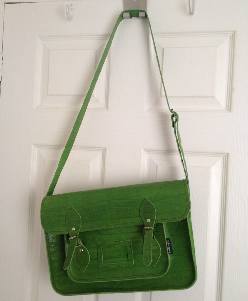 Zatchels Green Elephant Print Satchel