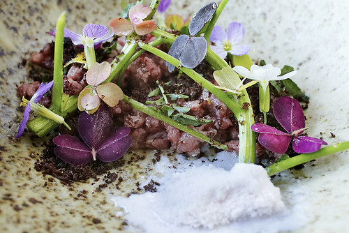 Beef tartar, wild watercress, pumpernickel, wild flowers, radish snow, burnt lemon oil @amalurproject