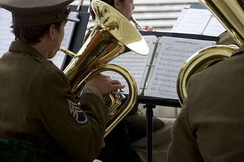 <p>Junior Reserve Officers' Training Corps cadets with the Enduring Freedom Honor Team play a medley of songs in honor of Armed Forces Day at the Amphitheater at Arlington National Cemetery in Arlington, Va., May 18, 2013. Former President Harry S. Truman helped create Armed Forces Day by leading the effort to establish a single holiday for citizens to come together and thank the military for their service in support of their country. (DoD photo by Staff Sgt. Sun L. Vega, U.S. Army/Released)</p>