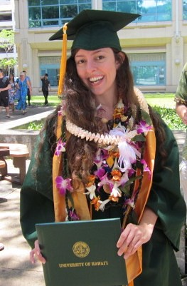 <p>Christina Johnson, a received her BS in global environmental science at the University of Hawaii at Manoa's commencement ceremony. May 11, 2013.</p>