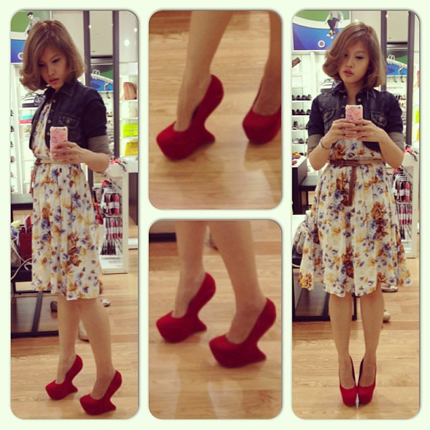 "Trying on the pair of heel-less heels. Much like a red ""hoof heels"". Surprisingly quite easy to walk in. #also #red #redsole #redsoles #heels #shoes #fashion #clozette #instadaily #instafashion #instamood"
