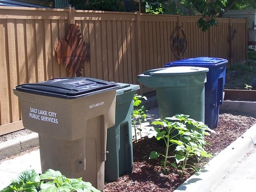 Salt Lake City's different types of trash (green), recycling (blue), and yard waste (brown) trash cans