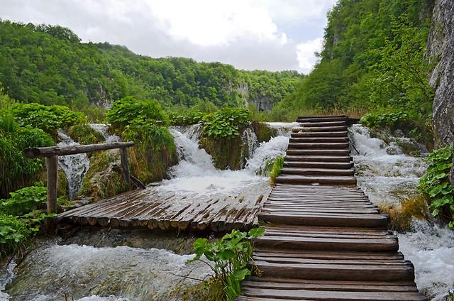 Wet walkways, Plitvice Lakes National Park, Croatia