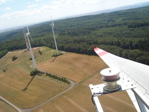 Ausblick von der 7,5 MW Enercon auf dem Schneeberger Hof