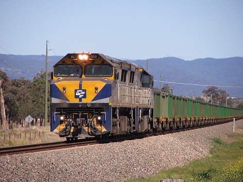 Locos VL359+VL351 lead a loaded Qube operated Ore train -19/9/13