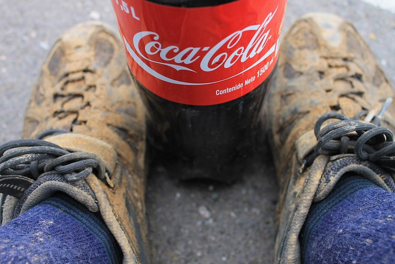 Muddy feet and Coke
