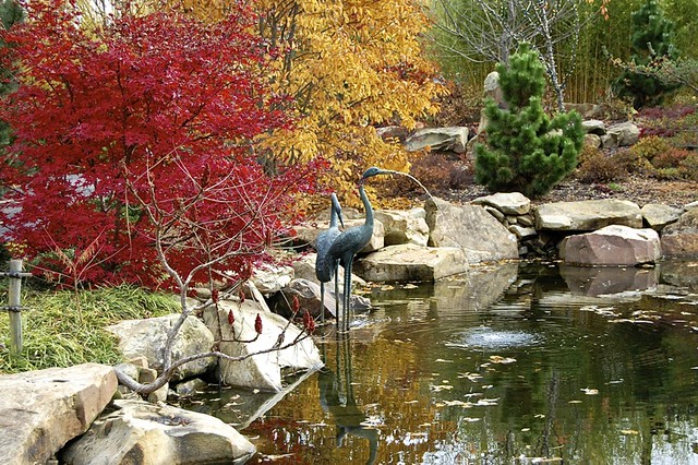 fountain with heron