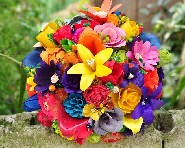 Rainbow Wedding Bouquet And Centerpiece