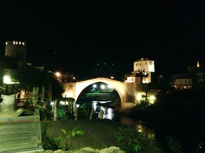 The Stari Most at night.