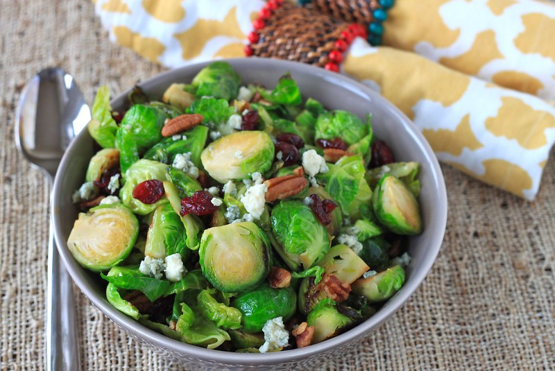 brussels sprout, cranberry, pecan, and blue cheese salad